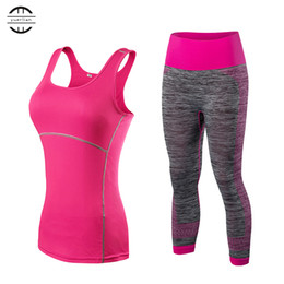 Wholesale green sport costumes resale online - Quick Dry sportswear Gym Leggings Female T shirt Costume Fitness Tights Sport Suit Green Top Yoga Set Women s Tracksuit training
