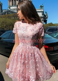 $enCountryForm.capitalKeyWord Australia - Elegant Arabic Pink Homecoming Dresses Lace Short Sleeve Tulle Cocktail Party Club Wear Graduation African Prom Dress Plus Size Girl Tutu