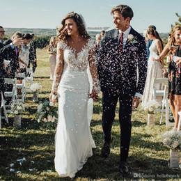 $enCountryForm.capitalKeyWord Australia - White Chiffon Lace Long Sleeves Corset Beach Plus Size Wedding Dress Hochzeitskleider Milla Nova Wedding Dress Bridal Gowns