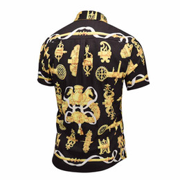 shirt man short button 2019 - True Reveler Royal nobility retro black gold men short sleeve shirts flower print tassel blouse fashion party club weddi
