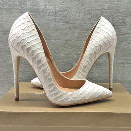 88b19b449b96 Blingbling femmes chaussures talons aiguilles talons aiguilles blanc python  serpent Point Toe sexy pompes à talons hauts chaussures de fête pompes de  ...
