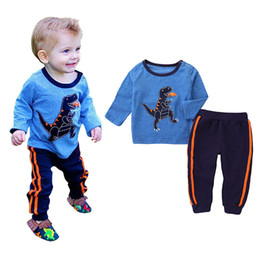 kids dinosaur clothing Canada - Baby INS outfits boys dinosaur print top+pants 2pcs set 2020 spring autumn Boutique kids Clothing Sets C174