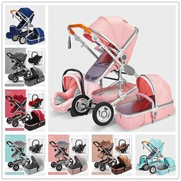 3 in 1 Multifunktions-Sportkinderwagen Folding Wagen Hoch Landschaft Goldrot Kinderwagen Neugeborenes Mutter-Assistent