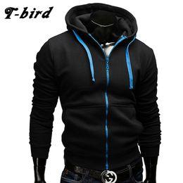 Wholesale Mens Zipper Hoodies Australia - T-Bird 2017 New Fashion Hoodies Brand Men Zipper Sweatshirt Male Hoody Hip Hop Autumn Winter Hoodie Mens Casual Pullover XXXL