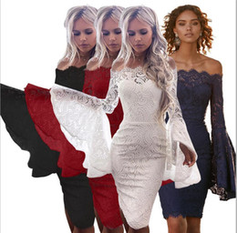 Red White Dresses Australia - ladies lace skirt fashion women off-the-shoulder trumpet long sleeve sexy short skirts white red lace dresses
