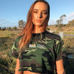 camo clothing t shirts 2019 - NCLAGEN 2019 Fashion Letter Print Camouflage Loose Casual Crop Tops Women Navel Bare Camo Clothing Girls Street Harajuku