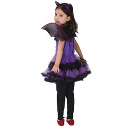 waffle costume Australia - Toddler Girls Clothes Children Suits Kids Baby Girl Halloween Clothes Costume Dress+Hair Hoop+Bat Wing Outfit Cartoon 2019
