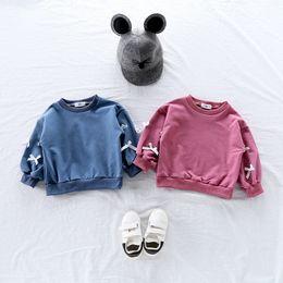 3d Cartoon Baby Girl NZ - Spring Toddler Baby Kids Girl Hoodies Cartoon 3D Bow T Shirt Hoody Sweatshirt Tops Clothes Roupa Infantil Toddler Girl Shirts