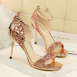 19f71af726a13 Summer High Heels Sandals Women Luxury Bling Fashion Platform Open Toe Sexy  Stiletto Party Ladies Shoes Big Size Sandalias Mujer