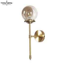 Clear Balls Australia - Nordic Modern LED Wall Lamp Glass Ball Bathroom Mirror Beside American Retro Wall Light Sconce Bedside Aisle Decor Lights lamp