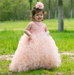 Wedding Vest Pink Australia - 2019 Princess Pink Flower Girl Dresses Lovely Ball Gown Party Wedding Girls Dresses with Bow Sash