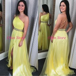 $enCountryForm.capitalKeyWord Australia - Elegant Light Yellow One Shoulder Backless Evening Formal Dresses Tulle Sweep Train Beaded Sash A Line Prom Party Gowns