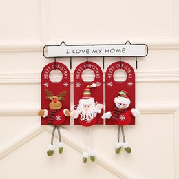 hanging doll decoration NZ - 2020 Christmas door lintel hanging ornaments store decorations cartoon old man snowman doll Christmas door hanging ornaments