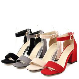 Black Blocks Australia - Sandals women summer med square chunky heels red black Buckle ankle strap high Block heel open toe party sandals woman pump
