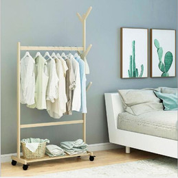 $enCountryForm.capitalKeyWord Australia - Simple clothes and hats rack Solid wood hanger Ground Bedroom Clothes Receiving Frame Modern Simple Household Shelf
