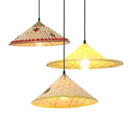 office decoration shopping Australia - Lampshade Lamps Farmhouse Bamboo Straw Hat Pendant Light Dining Room Kitchen Lights Hanging Corridor Hot Pot Shop Decoration Pendant Lamps