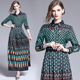 $enCountryForm.capitalKeyWord Australia - 2019 Runway Luxury Vintage Printed Womens Ladies Casual Long Sleeve Button Front Lapel Neck A-Line Party Robe Maxi Pleated Vestidos Dresses