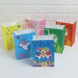 $enCountryForm.capitalKeyWord Australia - Baby Shark Kraft Paper Bag Cartoon Shark Gift Bag Birthday Baby Shower Paper Bags Cute Christmas Party Gift Bags Kid Handbag VT0436