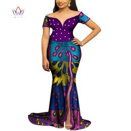 $enCountryForm.capitalKeyWord Australia - African Dresses for Women Bazin Riche Patchwork Wax Print Evening Long Pearls Dresses Dashiki Women African Clothing WY4065