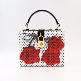 Tote Bag Rose Australia - Designer- Rose Flower Women Evening Bags Designer Clutch Floral Print Handbags Luxury PU Leather Tote Box Women Famous Brand Crossbody Bag