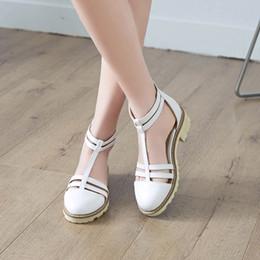 $enCountryForm.capitalKeyWord Australia - YMECHIC Summer Womens Chunky Low Heels Block Heel Shoes Pink White Gladiator Pumps Large Sizes Cute College Casual Shoe 2019