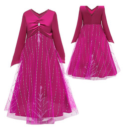 Wholesale Girls Snow Queen Dresses Shinning Snowflake Printed Diamonds Embossed Mesh Lace Collar Fuchsia Pajama Dress Cosplay Party Costume 3-9T 06