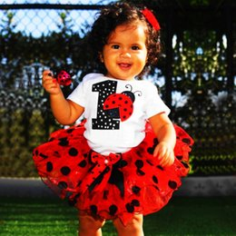 party clothes for little girls UK - Red One Year Birthday Party Costume Baby Clothing Set For Toddler Girls Fluffy Tutu 1 Year Baby Sets Ladybug Little Kids Outfits