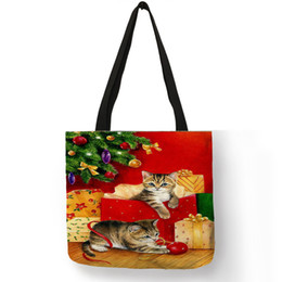 $enCountryForm.capitalKeyWord Australia - New Femme Sac Noel Women Shoulder Bag Cute Christmas Cat Prints Eco Linen Reusable Pretty Tote Bags School Travel Use