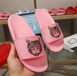 Cat Print Flats Australia - 2019 mens womens fashion cat head print rubber slide sandals flat slippers pool leather flip flops outdoor beach causal scuffs