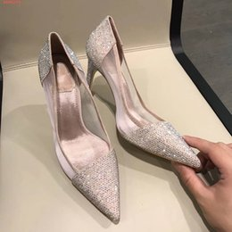$enCountryForm.capitalKeyWord Australia - Hot Sale- sexy Genuine Leather fashion women Slip-On studded rhinestone bright pumps ladies shoes for Homecoming formal dress wedding prom