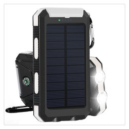 Solar Connectors Australia - Solar Powered Power Bank Waterproof Anti-skid Shockproof Dual USB Output Portable Solar Charger with Compass Wholesale