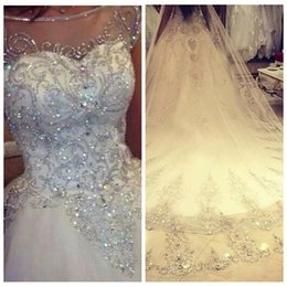 Crystal Images Wedding Australia - Ball Gown Wedding Dresses 2019 New Gorgeous Dazzling Princess Bridal Real Image Luxurious Tulle Handmade Rhinestones Crystal Sheer Top