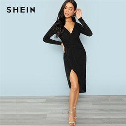 16750c6181 Shein Black Office Lady Party Plunging Neck Wrap Split Front Long Sleeve  Solid Casual Dress 2018 Autumn Elegant Women Dresses Y19012201