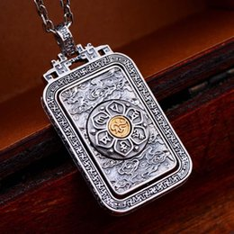 $enCountryForm.capitalKeyWord UK - China Style Jewelry Silver Brass Two Tone Buddhist Retro Amulet Removable Pendant Necklace for Men and Women