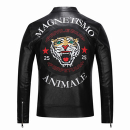 high neck motorcycle jacket fashion 2019 - new High quality new Spring fashion leather jackets men's Faux leather jacket brand motorcycle leather jackets Embr
