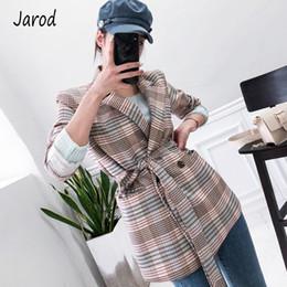 Office blazers online shopping - Women Autumn Plaid Blazer Suit Long Sleeve Double Breasted Elegant Belt casual Coat Formal Office OL Work Jacket Outerwear