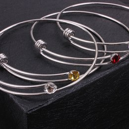 red crystal bangles NZ - 12 Crystal Birthstone Bracelet Bangle Cuff Wristband Brith Stone Charm Fashion Jewelry Bracelet