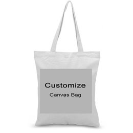 wholesale custom canvas prints UK - Custom Canvas Tote Bag Print Logo Text Daily Use Handbag Eco Ecologicas Reusable Shopping Bag Recycle Large Capacity