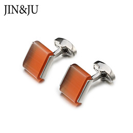$enCountryForm.capitalKeyWord Australia - Low-key Funny Cat's Eye Stone Cufflinks For Mens JIN&JU High Quality Luxury Cufflinks With Box Silver Color Men's Jewelry