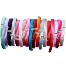 Chinese  New Wholesale 17 Colors Satin Plain Hair Hoop Headbands Plastic Headbands DIY Hair Accessories for Women Girls Lady manufacturers
