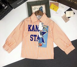 Boys shirts designs online shopping - Boy shirt Children designer clothing classic timeless English print Fashion striped cardigan coat Lapel design fabric comfortable boy jacket