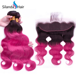 $enCountryForm.capitalKeyWord Australia - Silanda Hair Ombre #T 1B Rose Body Wave Brazilian Remy Human Hair Weaves 3 Weaving Bundles With 13X4 Lace Frontal Closure Free Shipping