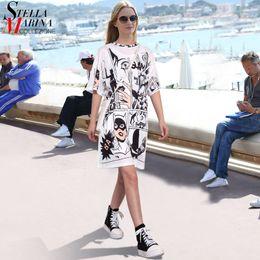 New Korean Ladies Summer Dress Australia - New 2019 Korean Style Summer Women White Dress Half Sleeve Plus Size Robot Cartoon Printed Ladies Cute Midi Loose Sun Dress 2404 T190411