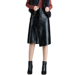 China Asymmetrical Faux Leather Skirt Women Pu Skirt Long Autumn Winter High Waist Hip Lifted 2995LY cheap faux long leather skirt suppliers