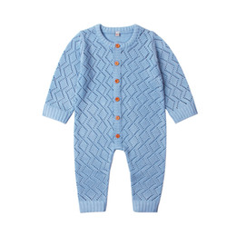 One piece jumpsuit patterns online shopping - Baby Boys Girls Rompers Long Sleeve Knitting Pattern Overalls For Newborns Jumpsuits One Piece Autumn Toddler Infant Clothes J190710