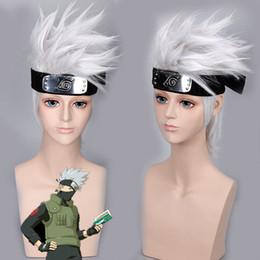 Naruto Kakashi Cosplay Australia - Naruto Hatake Kakashi Wig Silver Hair Cosplay Wig + Headband
