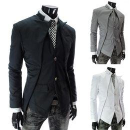 Asymmetrical Suit Australia - 2019 Top Brand Fashion Men's Suit Jacket Slim Asymmetrical Design Tuxedo Jacket 3 Color 4 Size Business Suit Dropshipping Nz55