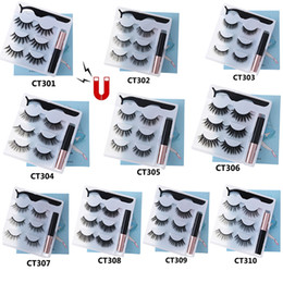 New 3Pairs Magnetic Eyelashes with Magnetic Liquid Eyeliner Kit Long-lasting Waterproof Magnetic Eyeliner Eyelashes Makeup Tools on Sale
