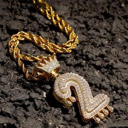 $enCountryForm.capitalKeyWord Australia - Custom Crown Bail Drip Bubble Number Chain Necklaces & Pendant For Men Women Gold Color Cubic Zircon Hip Hop Jewelry