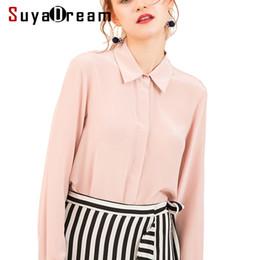 5c835b8543698e Women Silk Blouse Long Sleeved 100% Real Silk Crepe Blouses Solid Basic  Button Office Lady Shirt 2019 White Blusas Femininas Q190430